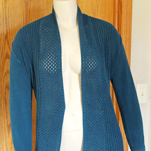 89th & Madison Teal Open Front Cardigan Plus XL